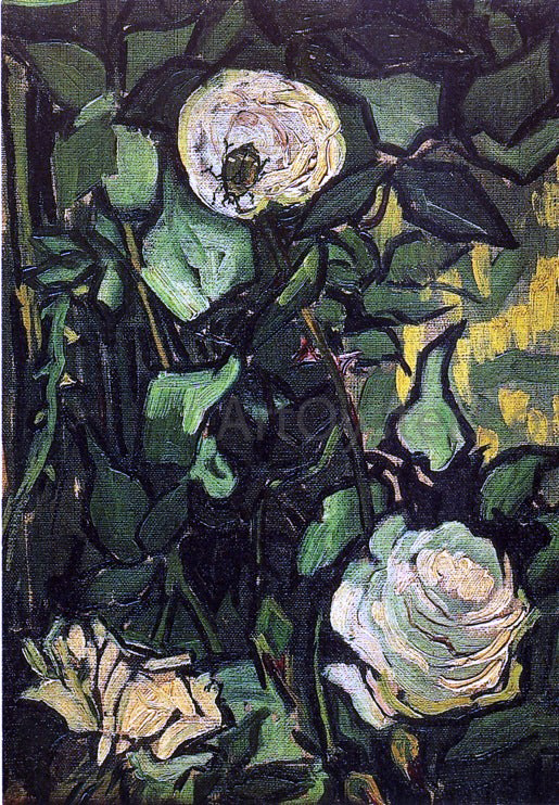 Vincent Van Gogh Roses and Beetle - Canvas Art Print