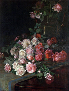 Robert Jenkins Onderdonk Roses and Mahogany - Canvas Art Print