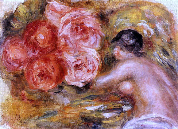 Pierre Auguste Renoir Roses and Study of Gabrielle - Canvas Art Print