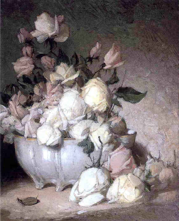 John Ferguson Weir Roses in a Porcelain Bowl - Canvas Art Print
