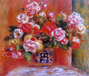Pierre Auguste Renoir Roses in a Vase - Canvas Art Print
