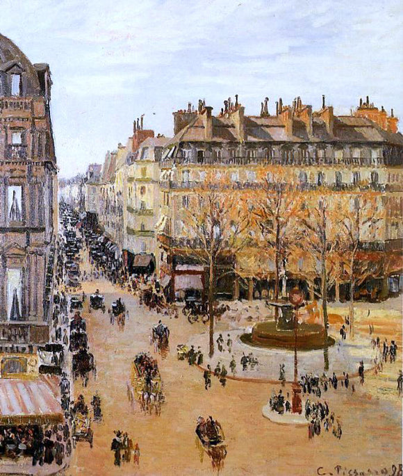 Camille Pissarro Rue Saint Honore: Sun Effect, Afternoon - Canvas Art Print