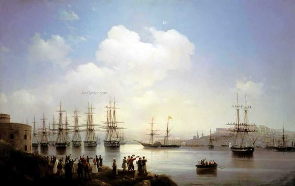 Ivan Constantinovich Aivazovsky Russian Squadron on the Raid of Sevastopol - Canvas Art Print