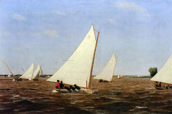 Thomas Eakins Sailboats Racing on the Delaware - Canvas Art Print