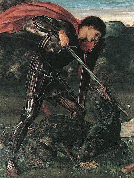 Sir Edward Burne-Jones Saint George and the Dragon - Canvas Art Print