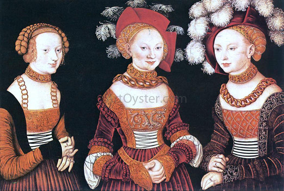 The Elder Lucas Cranach Saxon Princesses Sibylla, Emilia and Sidonia - Canvas Art Print
