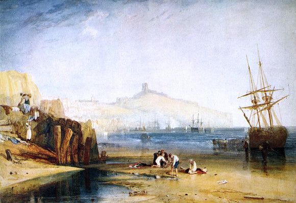 Joseph William Turner Scarborough Town and Castle: Morning: Boys Catching Crabs - Canvas Art Print