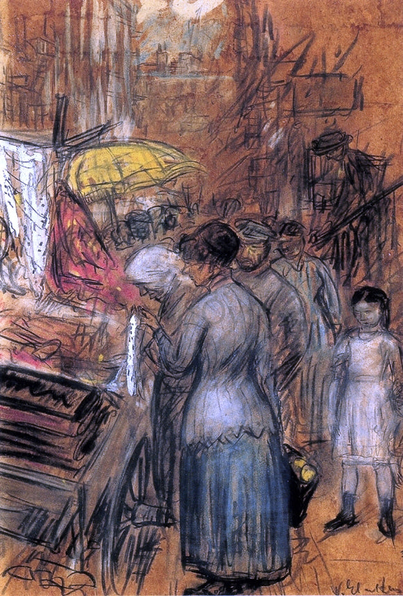 William James Glackens Scene on the Lower East Side - Canvas Art Print