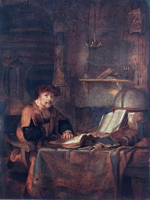 Gerbrand Van den Eeckhout Scholar with his Books - Canvas Art Print