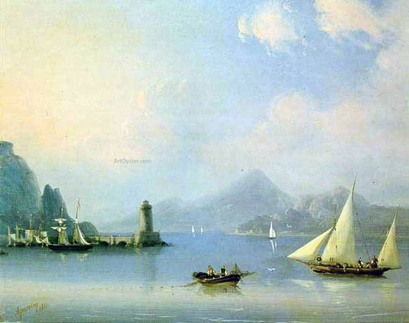 Ivan Constantinovich Aivazovsky Sea channel with lighthouse - Canvas Art Print
