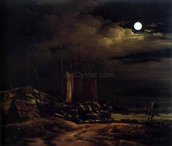 Egbert Van der Poel Seashore by Moonlight - Canvas Art Print