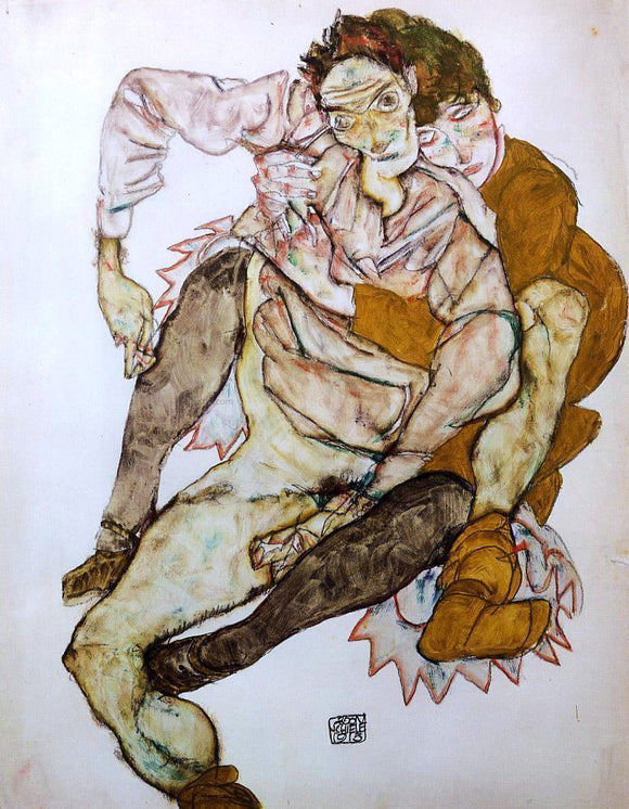 Egon Schiele Seated Couple (also known as Egon and Edith Schiele) - Canvas Art Print