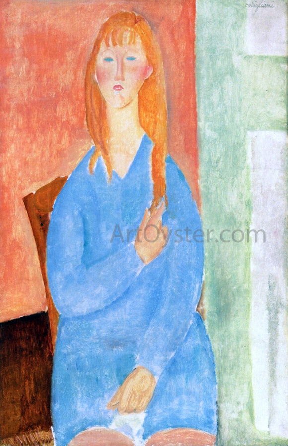 Amedeo Modigliani Seated Girl, Untied Hair (also known as Girl in Blue) - Canvas Art Print