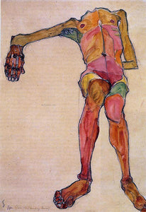 Egon Schiele Seated Male Nude, Right Hand Outstretched - Canvas Art Print