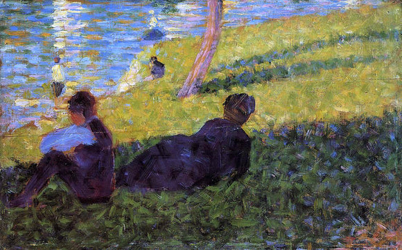 Georges Seurat Seated Man, Reclining Woman - Canvas Art Print