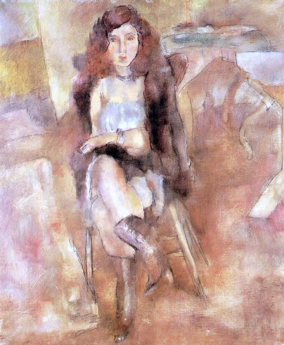 Jules Pascin Seated Woman - Canvas Art Print