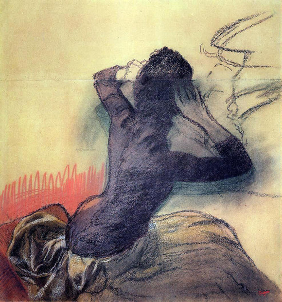 Edgar Degas Seated Woman Adjusting Her Hair - Canvas Art Print