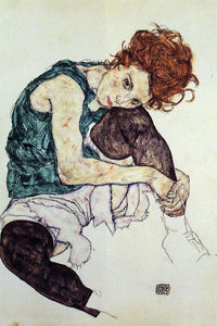 Egon Schiele Seated Woman with Bent Knee - Canvas Art Print
