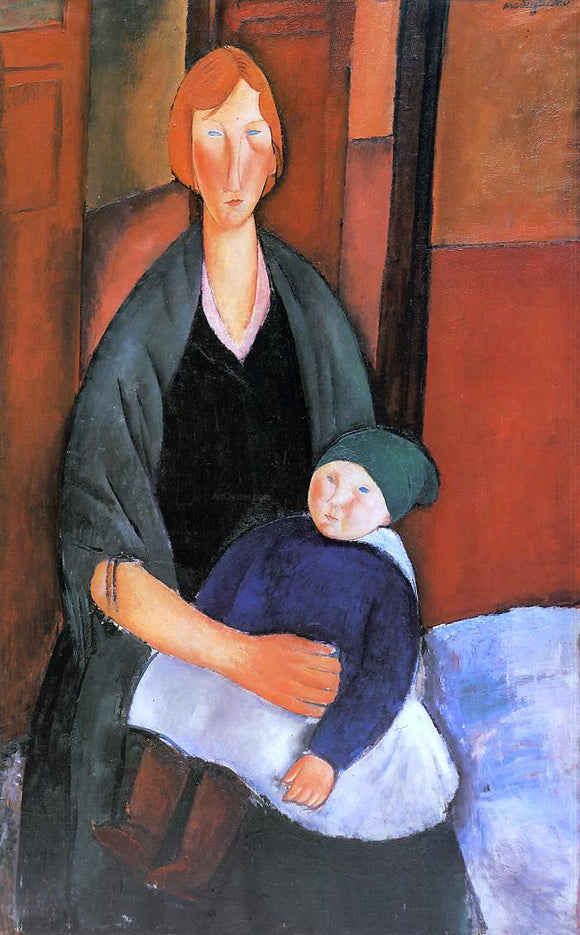 Amedeo Modigliani Seated Woman with Child (also known as Motherhood) - Canvas Art Print
