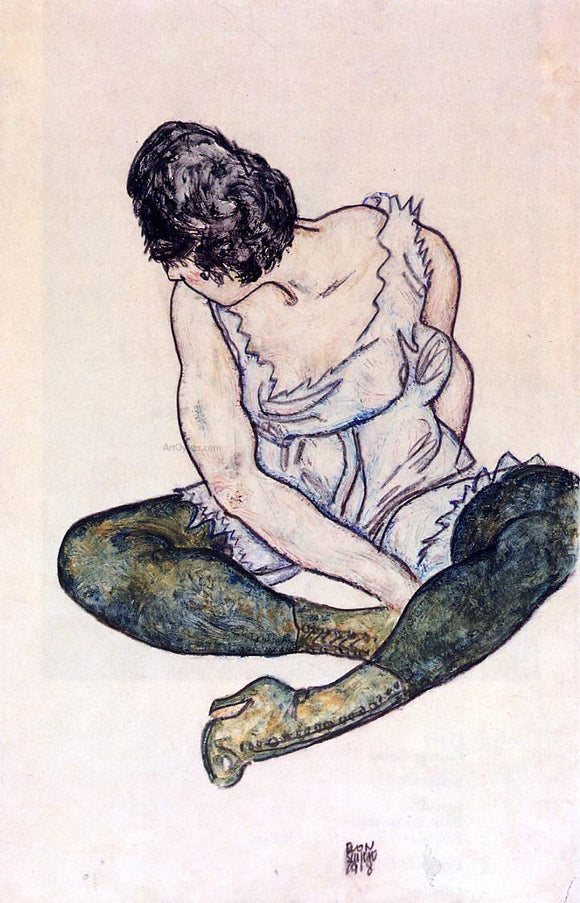 Egon Schiele Seated Woman with Green Stockings - Canvas Art Print