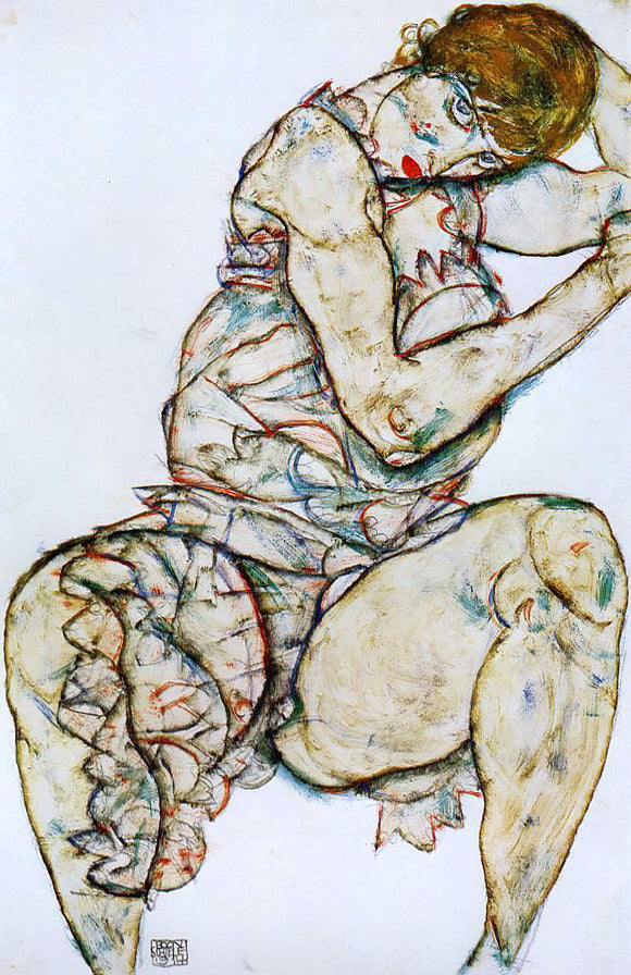 Egon Schiele Seated Woman with Her Left Hand in Her Hair - Canvas Art Print
