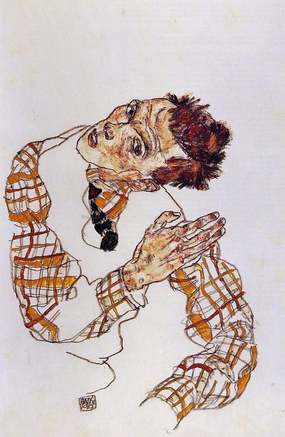 Egon Schiele Self Portrait - Canvas Art Print