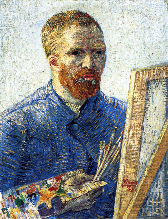 Vincent Van Gogh Self Portrait as a Painter (also known as Self Portrait in Front of the Easel) - Canvas Art Print