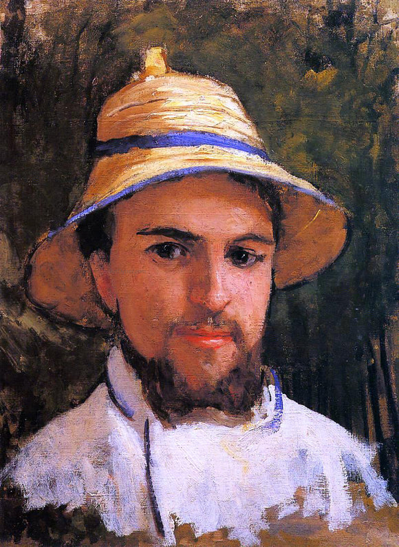 Gustave Caillebotte Self Portrait (fragment) (also known as Self Portrait Wearing a Summer Hat) - Canvas Art Print
