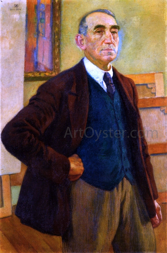 Theo Van Rysselberghe Self Portrait in a Green Waistcoat - Canvas Art Print