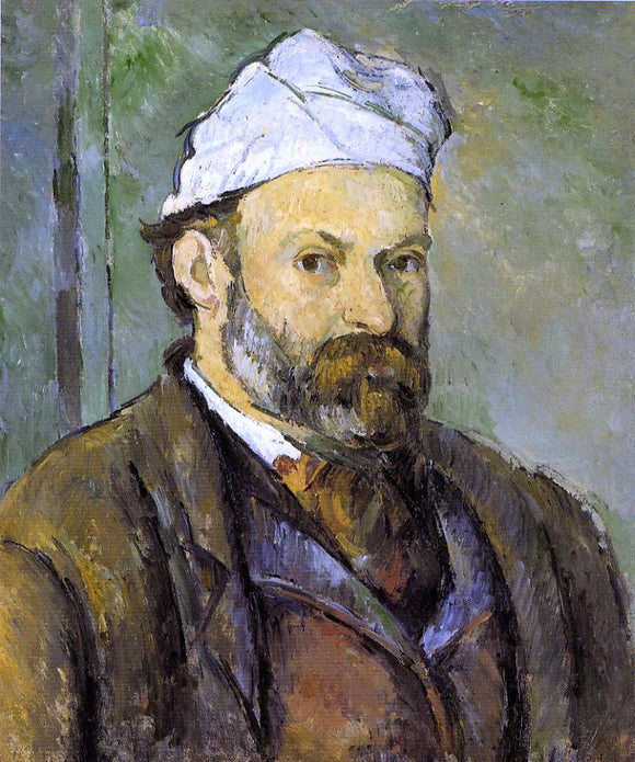 Paul Cezanne Self Portrait in a White Cap - Canvas Art Print