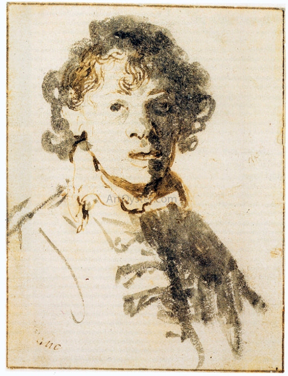 Rembrandt Van Rijn Self Portrait, Open-Mouthed - Canvas Art Print