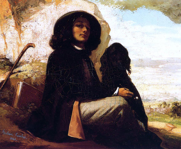 Gustave Courbet Self Portrait with a Black Dog - Canvas Art Print