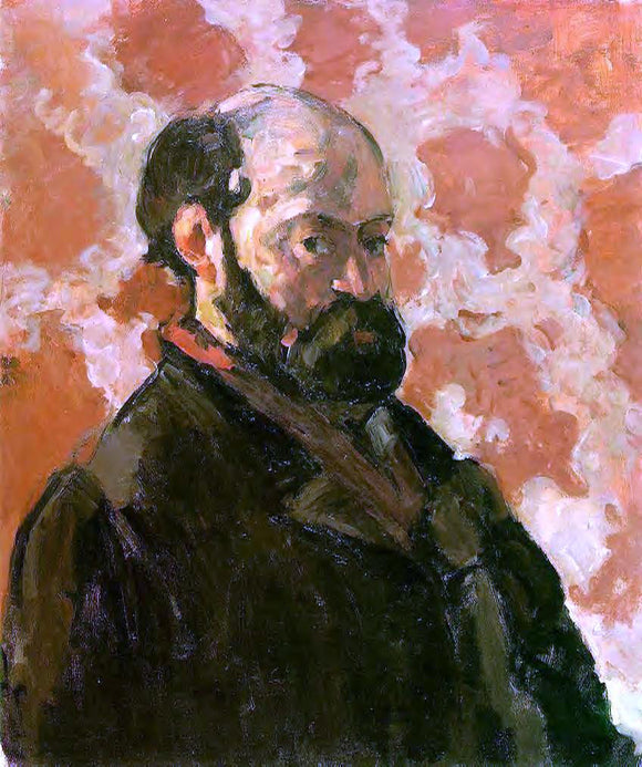 Paul Cezanne Self Portrait with a Rose Background - Canvas Art Print