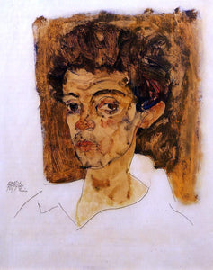 Egon Schiele Self Portrait with Brown Background - Canvas Art Print