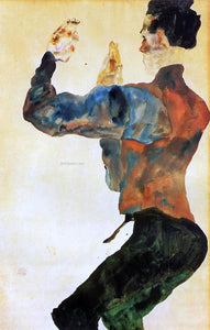 Egon Schiele Self Portrait with Raised Arms, Back View - Canvas Art Print