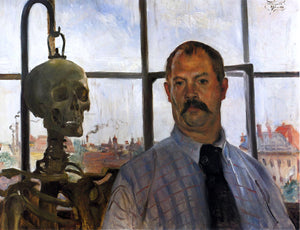 Lovis Corinth Self Portrait with Skeleton - Canvas Art Print