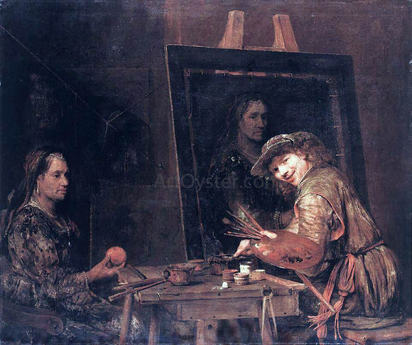 Aert De Gelder Self-Portrait at an Easel Painting an Old Woman - Canvas Art Print