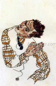 Egon Schiele Self-Portrait with Checkered Shirt - Canvas Art Print