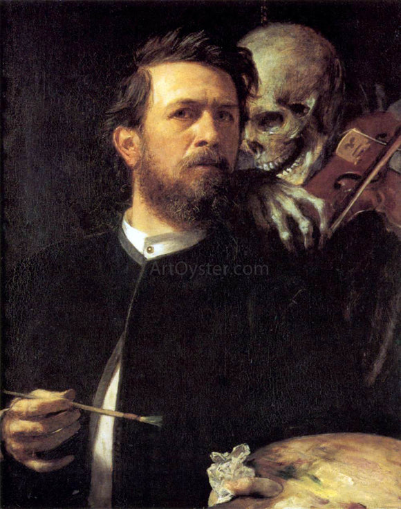Arnold Bocklin Self-Portrait with Death as a Fiddler - Canvas Art Print