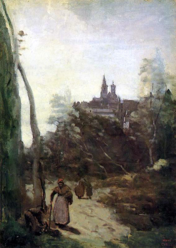Jean-Baptiste-Camille Corot Semur - the Path from the Church - Canvas Art Print