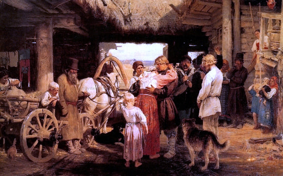 Ilia Efimovich Repin Send-off of Recruit - Canvas Art Print