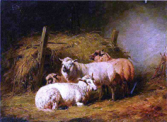 Arthur Fitzwilliam Tait Sheep in Shed - Canvas Art Print