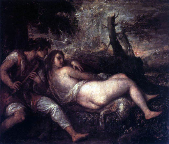 Titian Shepherd and Nymph - Canvas Art Print