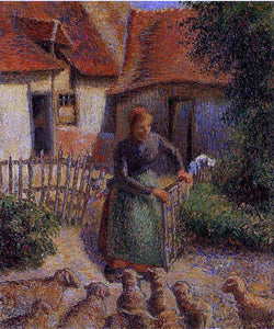 Camille Pissarro Shepherdess Bringing in the Sheep - Canvas Art Print