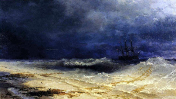 Ivan Constantinovich Aivazovsky Ship in a Stormy Sea off the Coast - Canvas Art Print