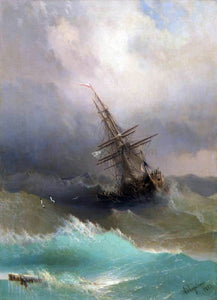 Ivan Konstantinovich Aivazovsky A Ship in the Stormy Sea - Canvas Art Print