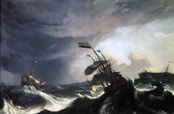 Ludolf Backhuysen Ships in Distress in a Raging Storm - Canvas Art Print