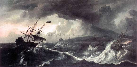 Ludolf Backhuysen Ships Running Aground in a Storm - Canvas Art Print