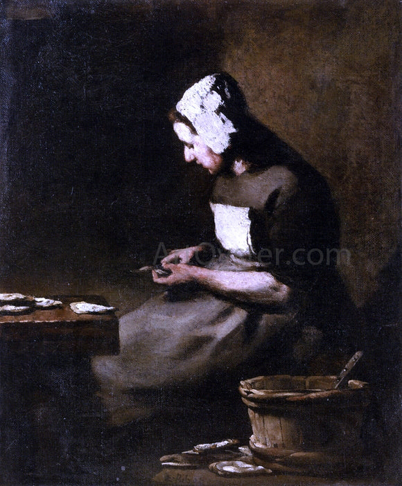 Theodule Ribot Shucking Oysters - Canvas Art Print