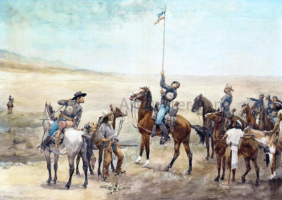 Frederic Remington Signaling the Main Command - Canvas Art Print